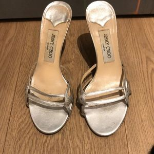 Jimmy Choo Silver Sandal Heels
